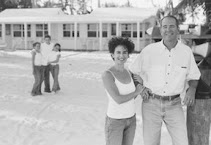 Your hosts Jim &amp; Sara Bernardin on the beach at Pines &amp; Palms Resort Islamorada, Florida