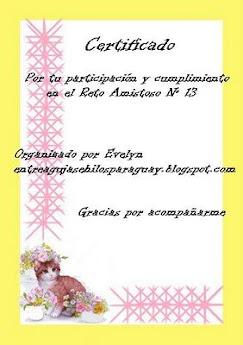 certificado de cumplimiento reto amistoso numero 13