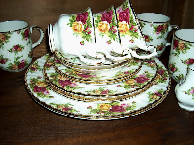Heirloom Antique Rose Chintz Bone China Starter Tea Set