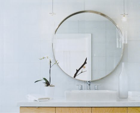 round bathroom mirror with shelves simple home. Black Bedroom Furniture Sets. Home Design Ideas