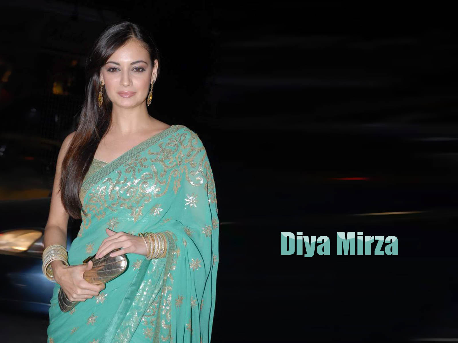 Diya Mirza Hot Wallpaper in Green Saree