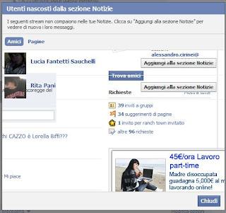 nascondere amici facebook