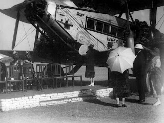 First flight to India, Lady Hoare in shot