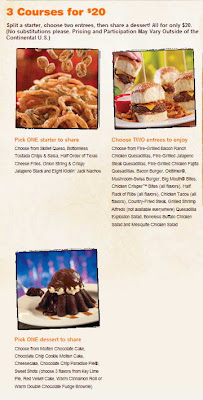 picture relating to Chilis Menu Printable called Printable Chilis Coupon codes: Chilis Menu 3 Programs $20 for 2