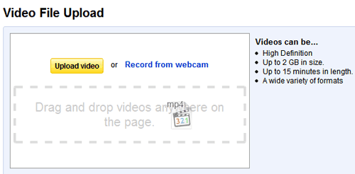 YouTube Drag-and-Drop Upload Feature