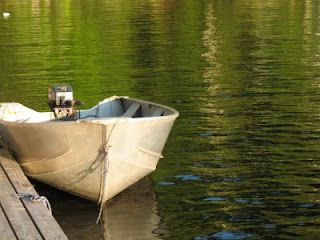 Handy aluminum boat for putting around Weslemkoon Lake, Ontario, Canada