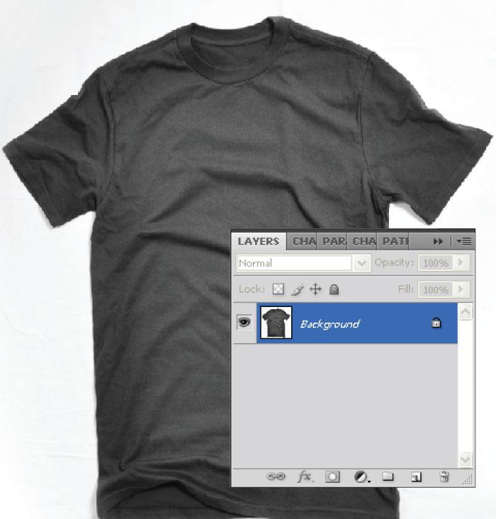 Buka Gambar template kaos di photoshop. Jika kamu belum punya template