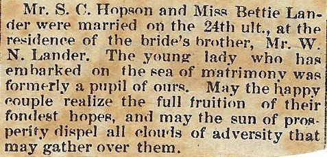 Shell & Bettie's wedding announcement, 1878