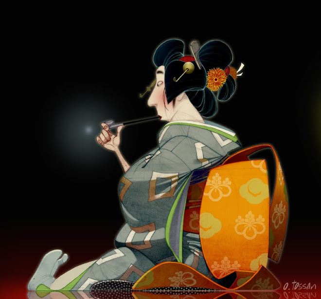 SMOKING JAPANESE WOMAN ( Traditional / Photoshop )