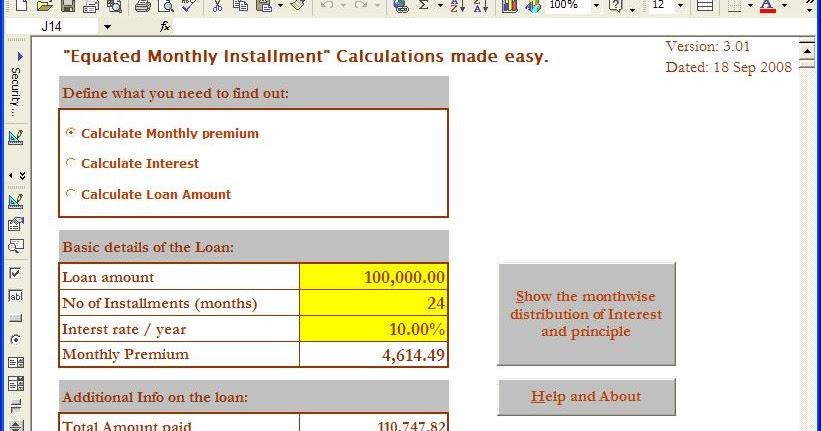 Home Loan Interest: Home Loan Interest Rate Calculator Xls