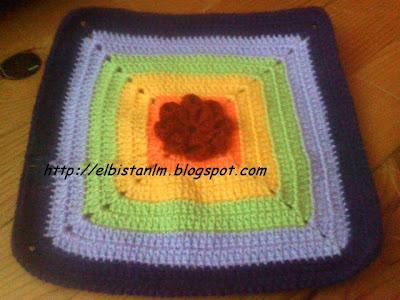 örgü güllü battaniye motifi