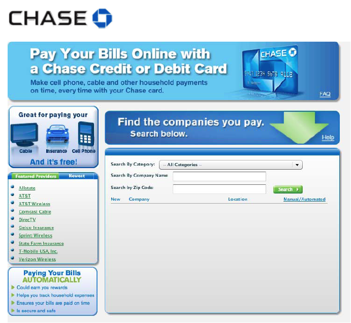 Chase Bank line Bill Pay