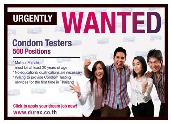 lowongan tester kondom