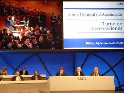 Intervención da sección sindical da CIG BBVA, a compañeira Teresa Richard na pasada xunta xeral de accionistas 2008