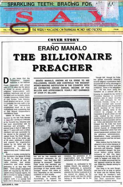Erano Manalo the Billionaire preacher