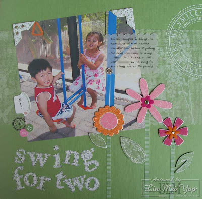 Layout of Shi Wei with his friend using Stampin' Up! supplies