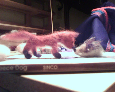 tiny felt fox and hedgehog