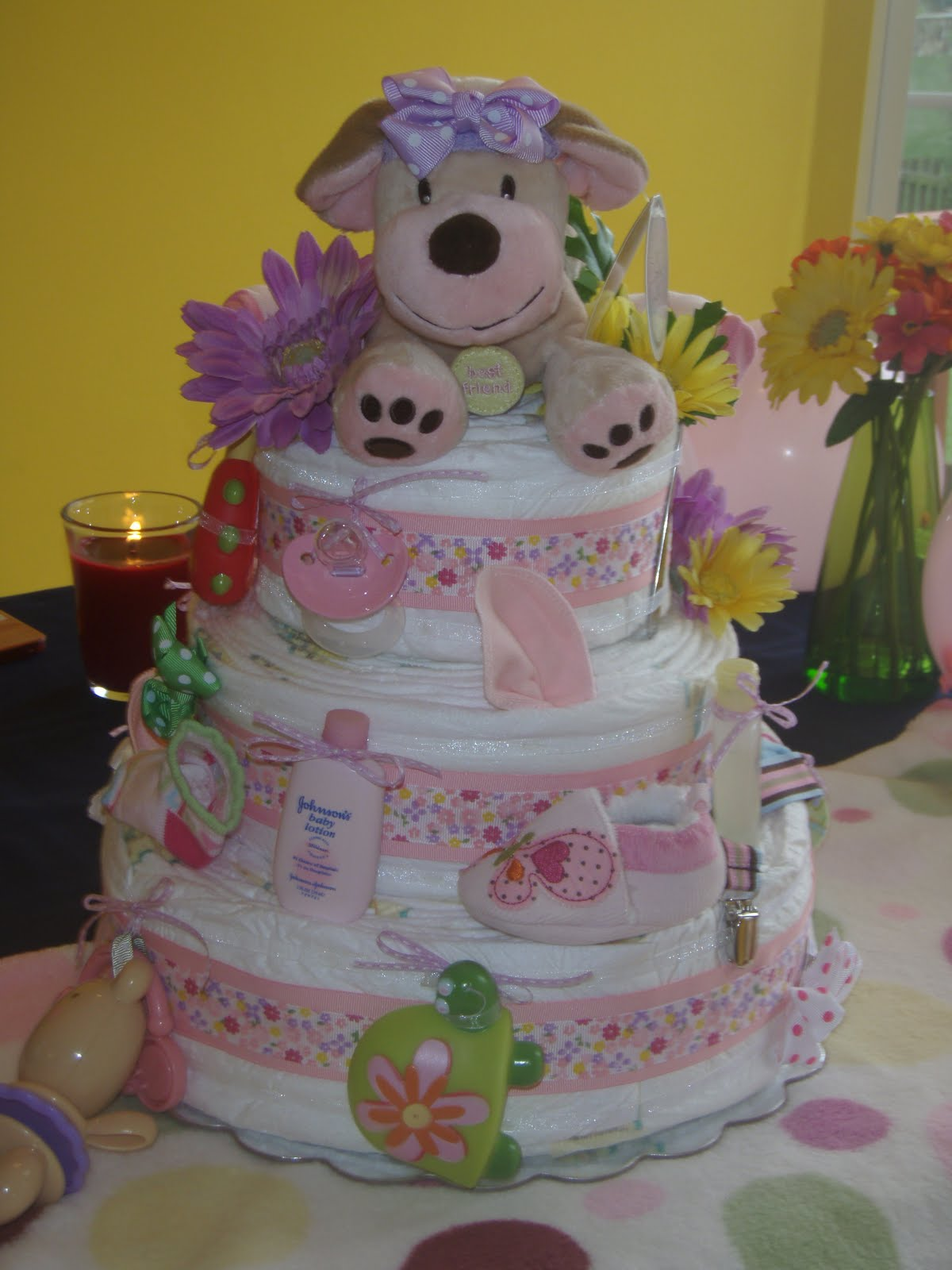 Personalized diaper cakes diaper cake examples for Baby shower decoration ideas with diapers