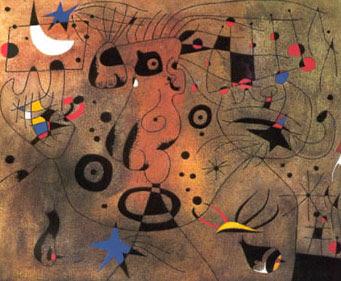 Mujer de la axila rubia peinándose la cabellera al resplandor de las estrellas, Joan Miró - 1940