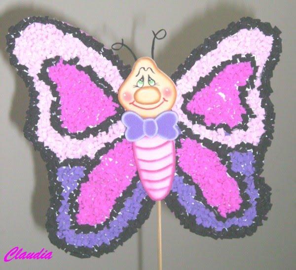 lindas manualidades: Mariposa con foamy picado