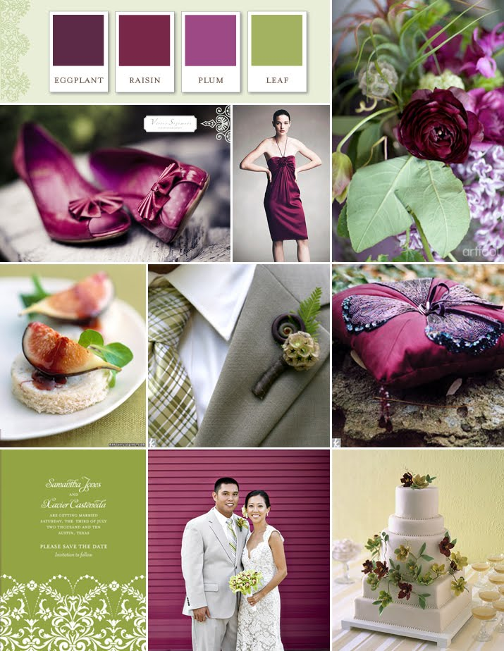 Couture bridal designs summer wedding color palette ideas - Violet prune couleur ...