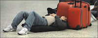 Man sleeping at the airport