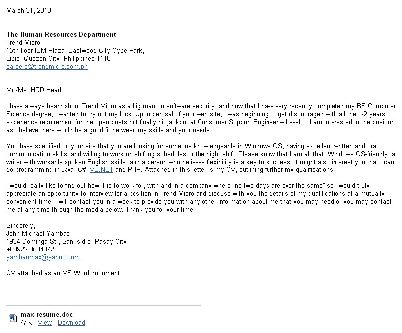 Job Application Letter Sample Philippines