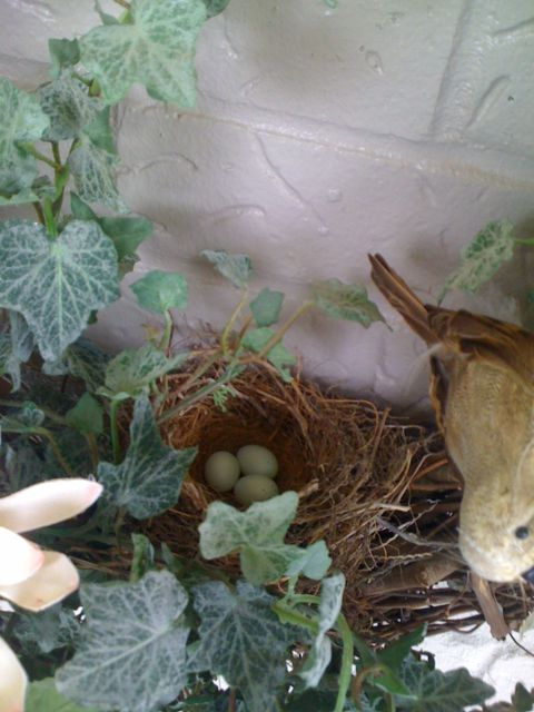 found that in her wreath on the front porch with fakebirdsneststuff