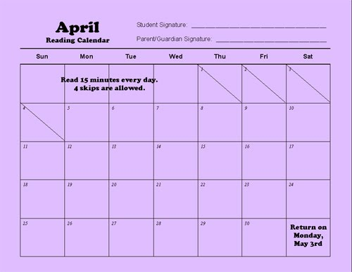 April Reading Calendar : The van clan news don t forget reading calendars
