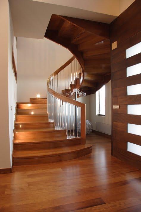 Escaleras de dise o escalera de madera y acero - Escaleras de cristal y madera ...