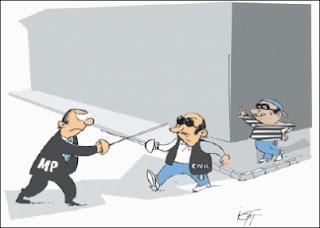 Charge. Briga da Polícia com o Ministério Público do RS.
