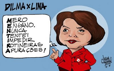 A discussão de Dilma e Lina, charge.