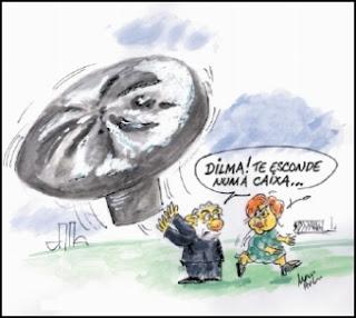 Lula, Dilma e o balão, Charge.