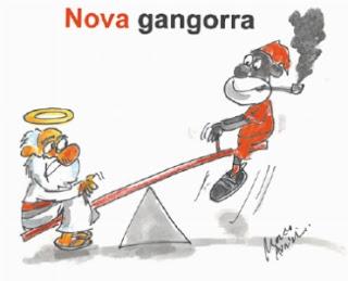 Gangorra no Futebol Brasileiro. Inter x São Paulo. Charge