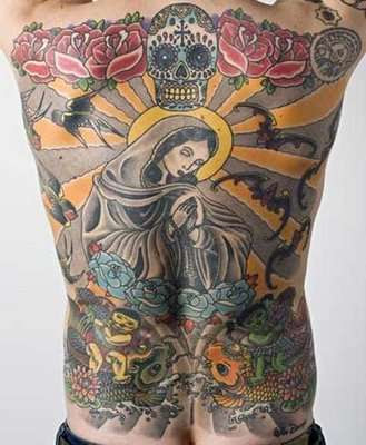 A man has sold an elaborate tattoo of the Virgin Mary, which is still on his