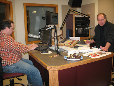 (u201cMorning Mixu201d (97.7 FM) Host Bob Miller, Right, And Brian Jones At Work  With Cupcakes To Help Them Along)