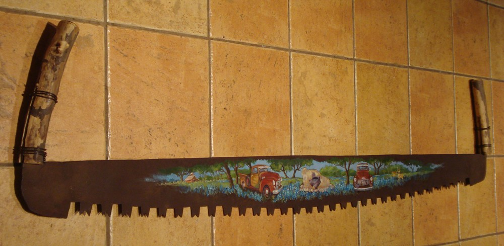Margie Whittington Art Painting On Antique Tree Saw