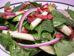 Spinach-Apple Salad with Maple-Bacon Vinaigrette