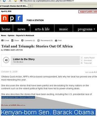 NPR says B. HopeChiMinh Ofascist is 'Kenyan-Born'