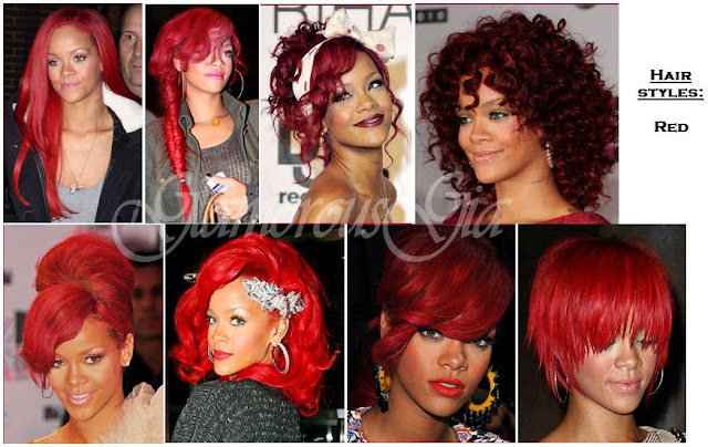 Rihanna celebrity different red hair styles over the years.