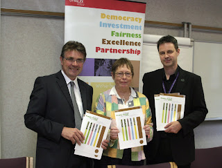 Pic: Hilton Dawson (Chief Executive, BASW); Ruth Stark (Scottish Professional Officer, BASW); Stephen Smellie (UNISON Scotland. Pic by Alan Wylie