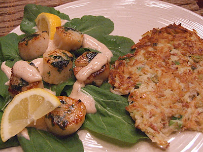 Caramelized Scallops with Smoked Chili Cream - RecipeGirl