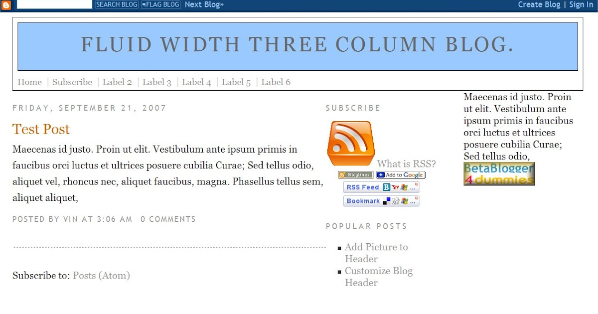 fluid width three column blog template the blog doctor