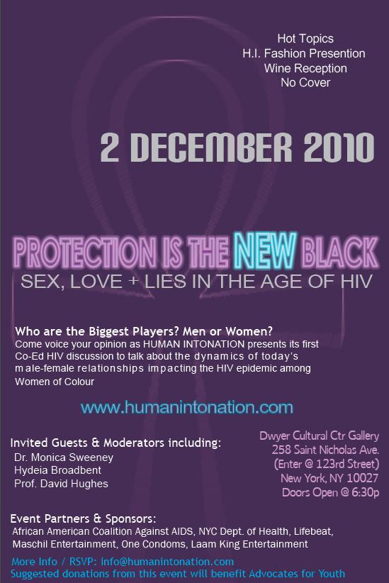 "The event is titled ""Protection is the NEW Black: Sex, Love + Lies in the ..."