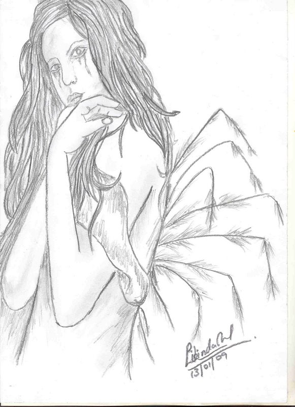 Angels charcoal pencil drawing