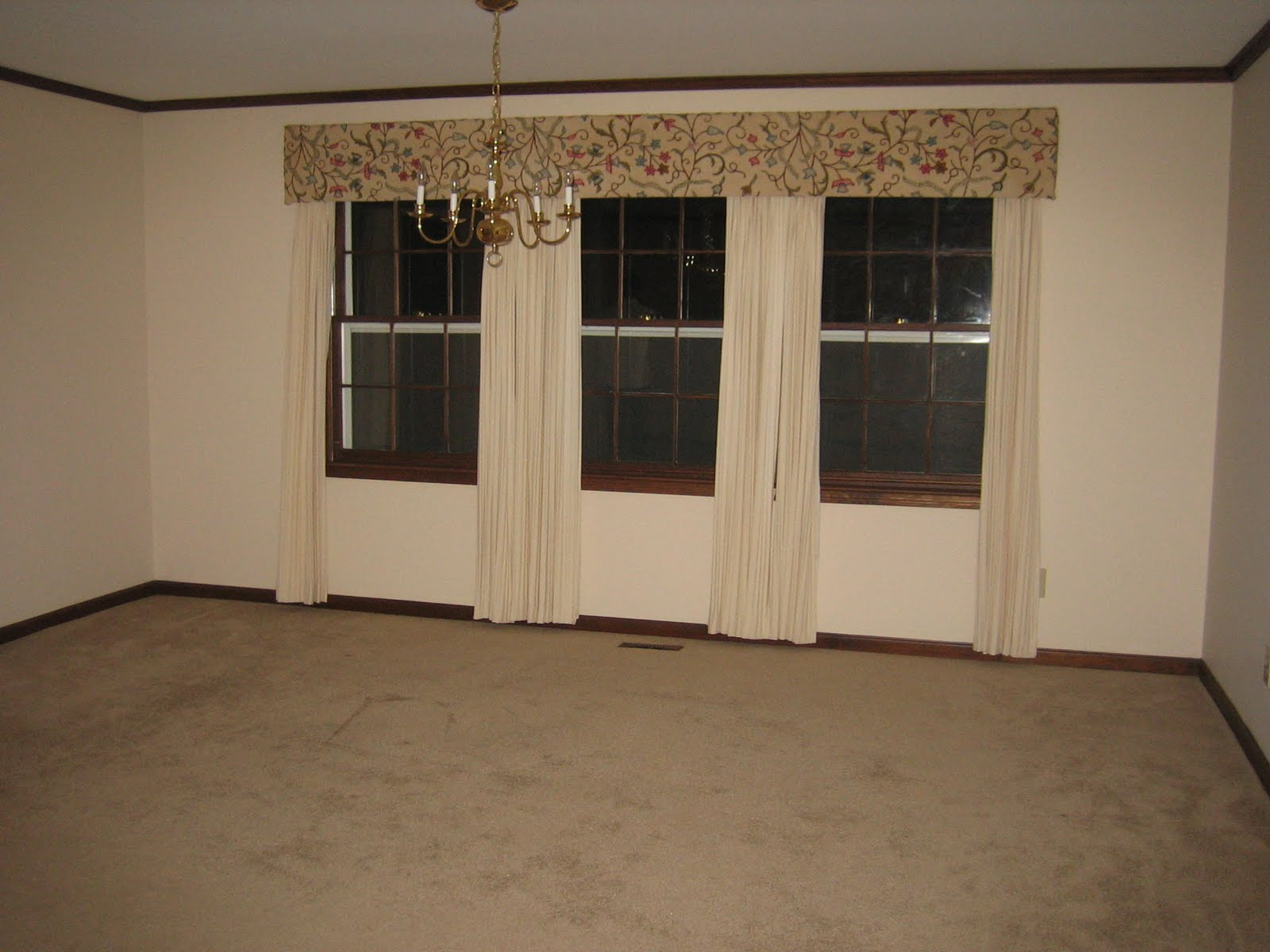The dining room had some awesome curtains filled with cat hair.