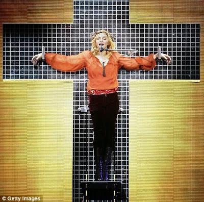 madonna crucified, madonna evil, madonna satanist, madonna crucifix
