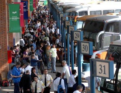Plataformas de salida y llegada de ómnibus de la Terminal