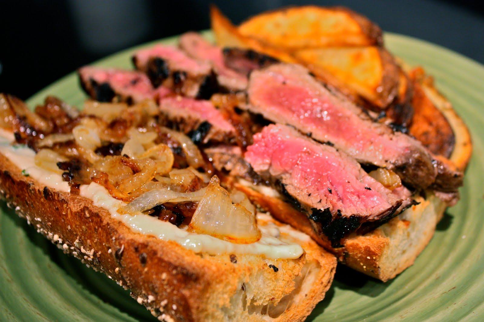 Grilled Flank Steak Sandwiches w/ Garlic/Basil Mayo and Caramelized ...
