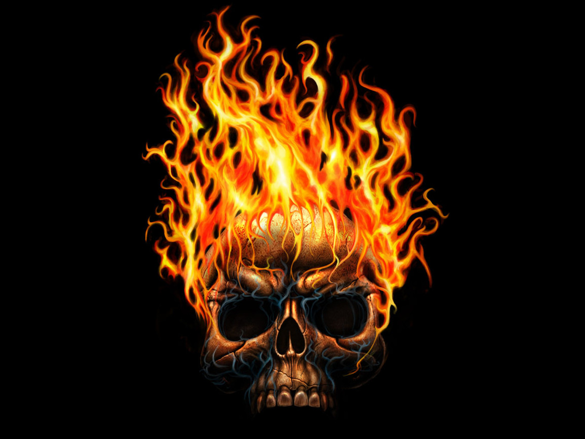 Flaming skull wallpaper.